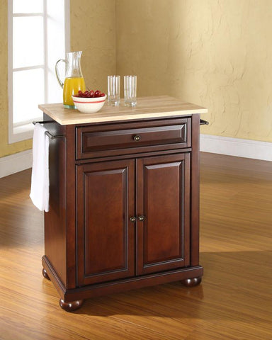Bayden Hill KF30021AMA Alexandria Natural Wood Top Portable Kitchen Island in Vintage Mahogany Finish - Peazz.com