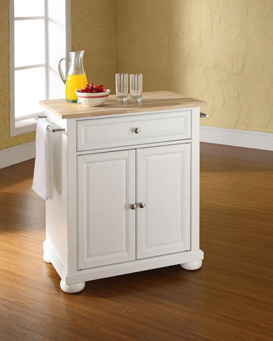 Bayden Hill KF30021AWH Alexandria Natural Wood Top Portable Kitchen Island in White Finish - Peazz.com