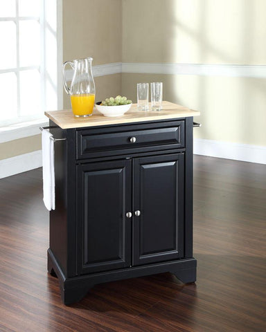 Bayden Hill KF30021BBK LaFayette Natural Wood Top Portable Kitchen Island in Black Finish - Peazz.com