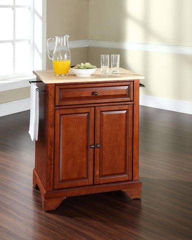 Bayden Hill KF30021BCH LaFayette Natural Wood Top Portable Kitchen Island in Classic Cherry Finish - Peazz.com