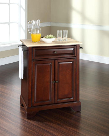 Bayden Hill KF30021BMA LaFayette Natural Wood Top Portable Kitchen Island in Vintage Mahogany Finish - Peazz.com