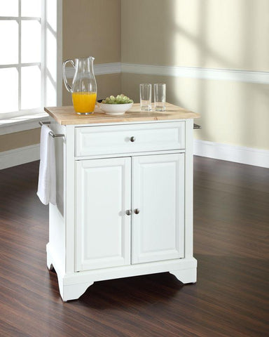 Bayden Hill KF30021BWH LaFayette Natural Wood Top Portable Kitchen Island in White Finish - Peazz.com