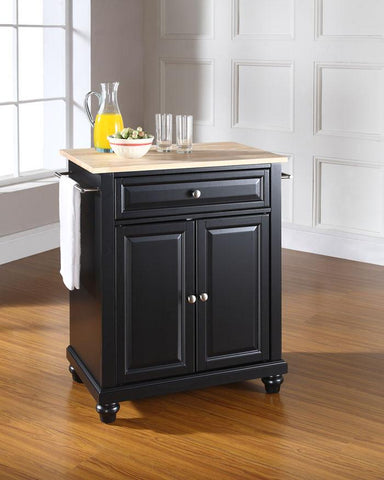 Bayden Hill KF30021DBK Cambridge Natural Wood Top Portable Kitchen Island in Black Finish - Peazz.com