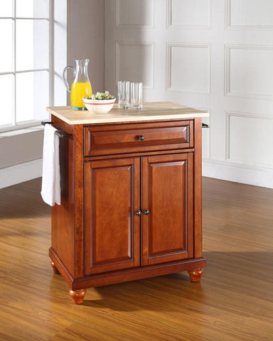 Bayden Hill KF30021DCH Cambridge Natural Wood Top Portable Kitchen Island in Classic Cherry Finish - Peazz.com