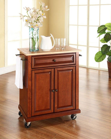 Bayden Hill KF30021ECH Natural Wood Top Portable Kitchen Cart/Island in Classic Cherry Finish - Peazz.com