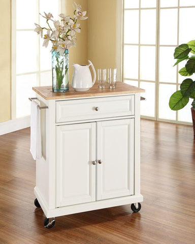Bayden Hill KF30021EWH Natural Wood Top Portable Kitchen Cart/Island in White Finish - Peazz.com
