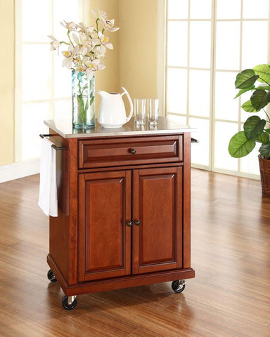 Bayden Hill KF30022ECH Stainless Steel Top Portable Kitchen Cart/Island in Classic Cherry Finish - Peazz.com