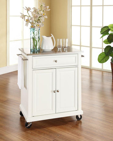 Bayden Hill KF30022EWH Stainless Steel Top Portable Kitchen Cart/Island in White Finish - Peazz.com