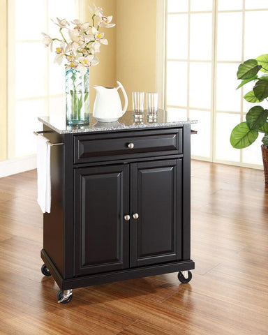 Bayden Hill KF30023EBK Solid Granite Top Portable Kitchen Cart/Island in Black Finish - Peazz.com