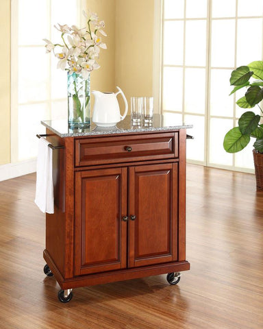 Bayden Hill KF30023ECH Solid Granite Top Portable Kitchen Cart/Island in Classic Cherry Finish - Peazz.com
