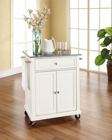 Bayden Hill KF30023EWH Solid Granite Top Portable Kitchen Cart/Island in White Finish - Peazz.com