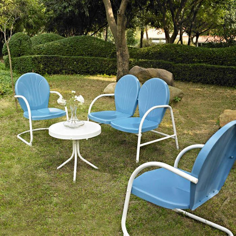 Bayden Hill KO10001BL Griffith 4 Piece Metal Outdoor Conversation Seating Set - Loveseat & 2 Chairs in Sky Blue Finish with Side Table in White Finish - Peazz.com