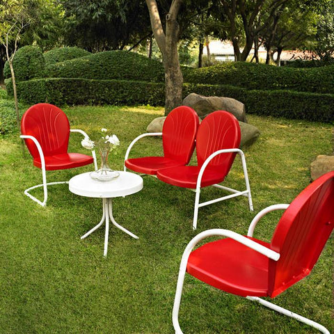 Bayden Hill KO10001RE Griffith 4 Piece Metal Outdoor Conversation Seating Set - Loveseat & 2 Chairs in Red Finish with Side Table in White Finish - Peazz.com