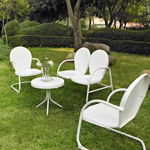 Bayden Hill KO10001WH Griffith 4 Piece Metal Outdoor Conversation Seating Set - Loveseat & 2 Chairs in White Finish with Side Table in White Finish - Peazz.com
