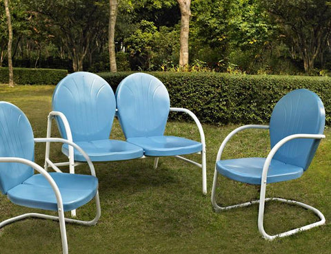 Bayden Hill KO10002BL Griffith 3 Piece Metal Outdoor Conversation Seating Set - Loveseat & 2 Chairs in Sky Blue Finish - Peazz.com