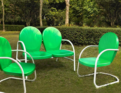 Bayden Hill KO10002GR Griffith 3 Piece Metal Outdoor Conversation Seating Set - Loveseat & 2 Chairs in Grasshopper Green Finish - Peazz.com