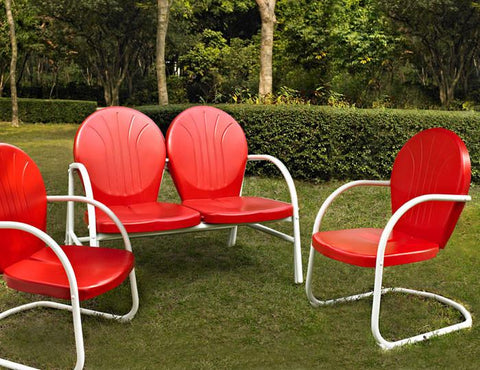 Bayden Hill KO10002RE Griffith 3 Piece Metal Outdoor Conversation Seating Set - Loveseat & 2 Chairs in Red Finish - Peazz.com