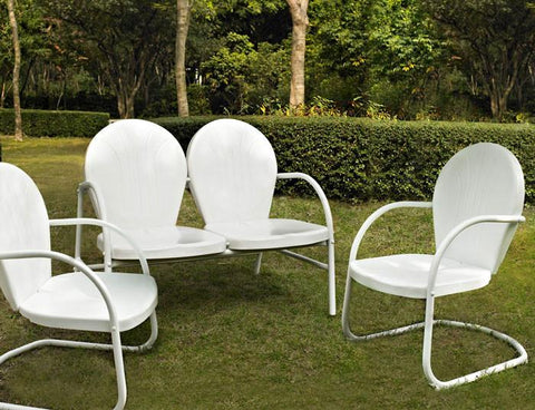 Bayden Hill KO10002WH Griffith 3 Piece Metal Outdoor Conversation Seating Set - Loveseat & 2 Chairs in White Finish - Peazz.com