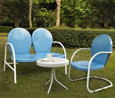Bayden Hill KO10003BL Griffith 3 Piece Metal Outdoor Conversation Seating Set - Loveseat & Chair in Sky Blue Finish with Side Table in White Finish - Peazz.com