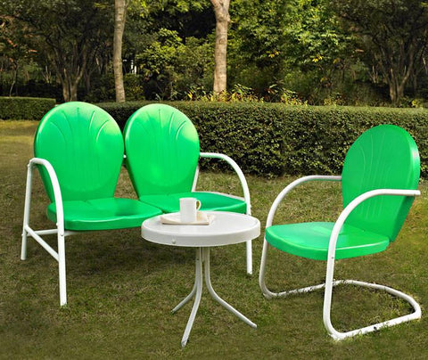 Bayden Hill KO10003GR Griffith 3 Piece Metal Outdoor Conversation Seating Set - Loveseat & Chair in Grasshopper Green Finish with Side Table in White Finish - Peazz.com