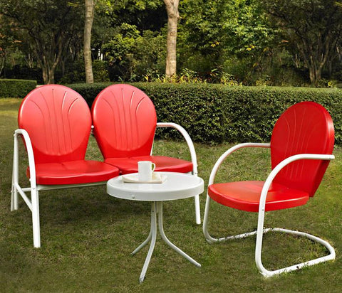 Bayden Hill KO10003RE Griffith 3 Piece Metal Outdoor Conversation Seating Set - Loveseat & Chair in Red Finish with Side Table in White Finish - Peazz.com