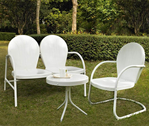 Bayden Hill KO10003WH Griffith 3 Piece Metal Outdoor Conversation Seating Set - Loveseat & Chair in White Finish with Side Table in White Finish - Peazz.com