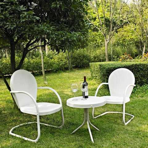 Bayden Hill KO10004WH Griffith 3 Piece Metal Outdoor Conversation Seating Set - Two Chairs in White Finish with Side Table in White Finish - Peazz.com