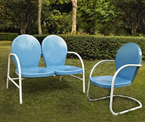 Bayden Hill KO10005BL Griffith 2 Piece Metal OutdoorConversation Seating Set - Loveseat & Chair in Sky Blue Finish - Peazz.com