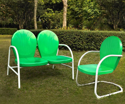 Bayden Hill KO10005GR Griffith 2 Piece Metal Outdoor Conversation Seating Set - Loveseat & Chair in Grasshopper Green Finish - Peazz.com