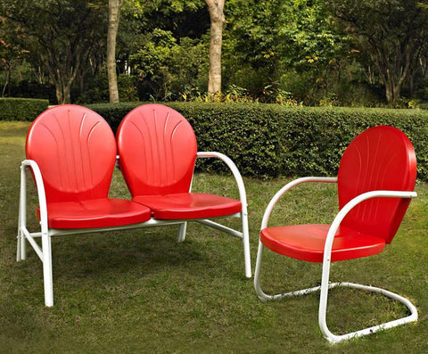 Bayden Hill KO10005RE Griffith 2 Piece Metal Outdoor Conversation Seating Set - Loveseat & Chair in Red Finish - Peazz.com