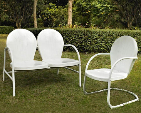 Bayden Hill KO10005WH Griffith 2 Piece Metal Outdoor Conversation Seating Set - Loveseat & Chair in White Finish - Peazz.com