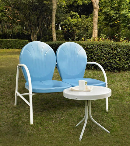 Bayden Hill KO10006BL Griffith 2 Piece Metal Outdoor Conversation Seating Set - Loveseat & Table in Sky Blue Finish - Peazz.com