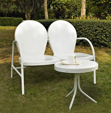 Bayden Hill KO10006WH Griffith 2 Piece Metal Outdoor Conversation Seating Set - Loveseat & Table in White Finish - Peazz.com