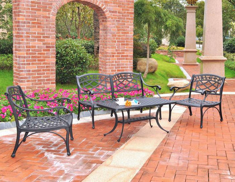 Bayden Hill KO60001BK Sedona 4 Piece Cast Aluminum Outdoor Conversation Seating Set - Loveseat, 2 Club Chairs & Cocktail Table in Black Finish - Peazz.com