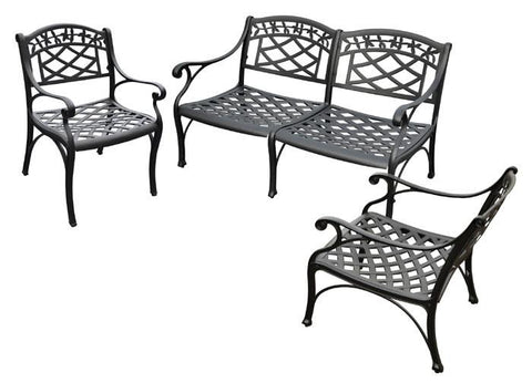 Bayden Hill KO60002BK Sedona 3 Piece Cast Aluminum Outdoor Conversation Seating Set - Loveseat & 2 Club Chairs Black Finish - Peazz.com