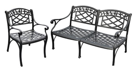 Bayden Hill KO60004BK Sedona 2 Piece Cast Aluminum Outdoor Conversation Seating Set - Loveseat & Club Chair Black Finish - Peazz.com