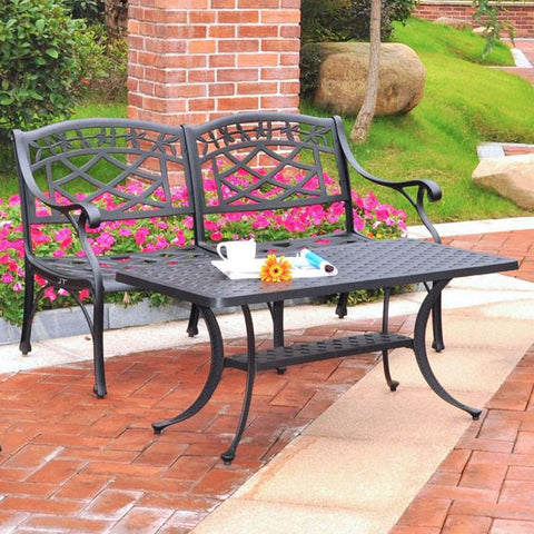 Bayden Hill KO60005BK Sedona 2 Piece Cast Aluminum Outdoor Conversation Seating Set - Loveseat & Cocktail Table Black Finish - Peazz.com