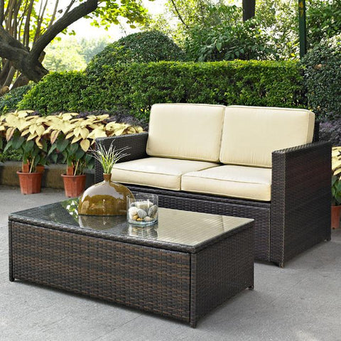 Bayden Hill KO70002BR Palm Harbor 2 Piece Outdoor Wicker Seating Set - Loveseat & Glass Top Table - Peazz.com