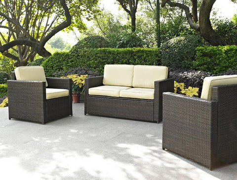 Bayden Hill KO70003BR Palm Harbor 3 Piece Outdoor Wicker Seating Set - Loveseat & Two Outdoor Chairs - Peazz.com
