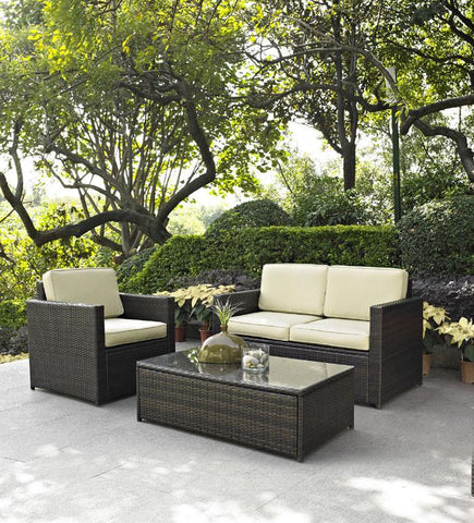 Bayden Hill KO70006BR Palm Harbor 3 Piece Outdoor Wicker Seating Set - Loveseat, Chair & Glass Top Table - Peazz.com