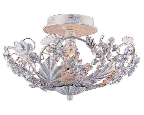Crystorama 5305-AW 3-Lights Abbie Collection Hand Cut Crystal Semi Flush - Antique White - Peazz.com
