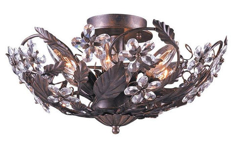 Crystorama 5316-DR 6-Lights Abbie Collection Hand Cut Crystal Semi Flush - Dark Rust - Peazz.com