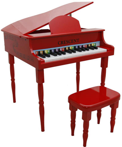 Crescent Direct KGP-RD 30 Keys Red Toy Grand Piano with Bench - Peazz.com