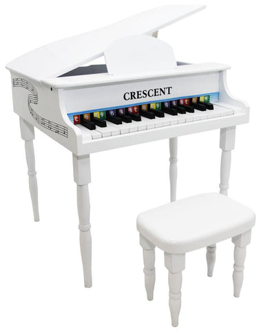 Crescent Direct KGP-WT 30 Keys White Toy Grand Piano with Bench - Peazz.com