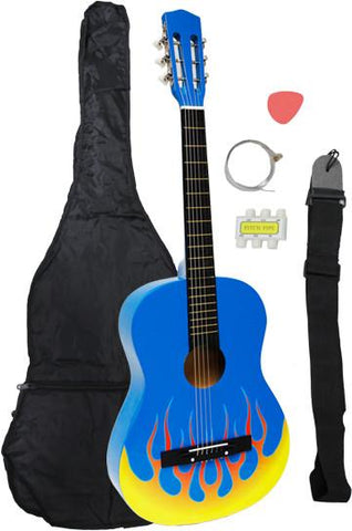 Crescent Direct MG38-BU-FL 38 Inch Blue Flame Beginner Acoustic Guitar - Peazz.com