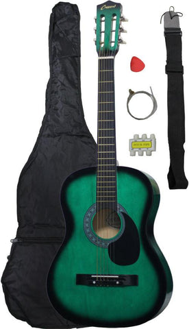 Crescent Direct MG38-GR 38 Inch Green Beginner Acoustic Guitar - Peazz.com