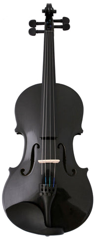 Crescent Direct VL-BK 4/4 Black Maplewood Acoustic Violin with Case, Rosin, and Bow - Peazz.com