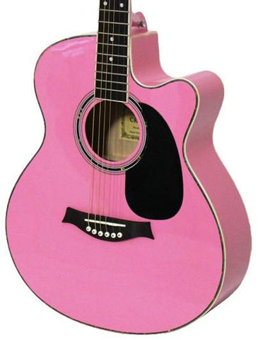 Crescent Direct YMG-PK 41 Inch Pink Premium Acoustic Cutaway - Peazz.com