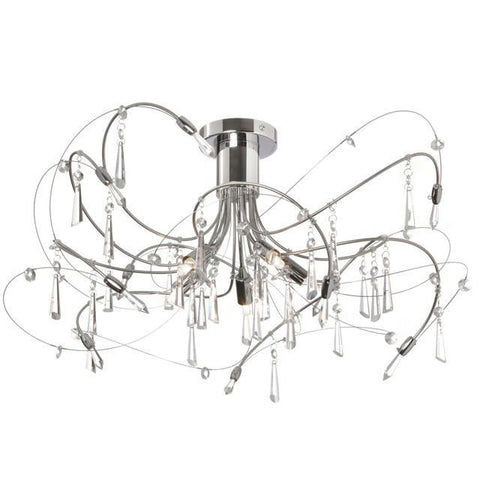 Dainolite 158-18SF-PC 5 Light Crystal Semi Flush Fixture - Peazz.com