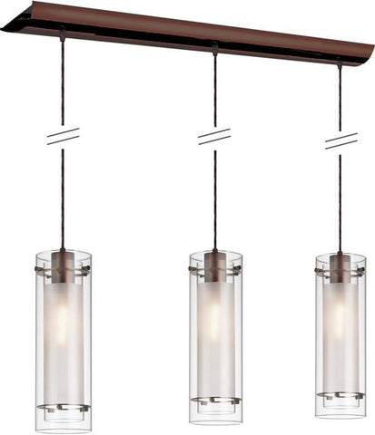 Dainolite 3 Lite Oil Brushed Bronze Pendant Clear Frosted Glass Black Wire 22153-CF-OBB - Peazz.com